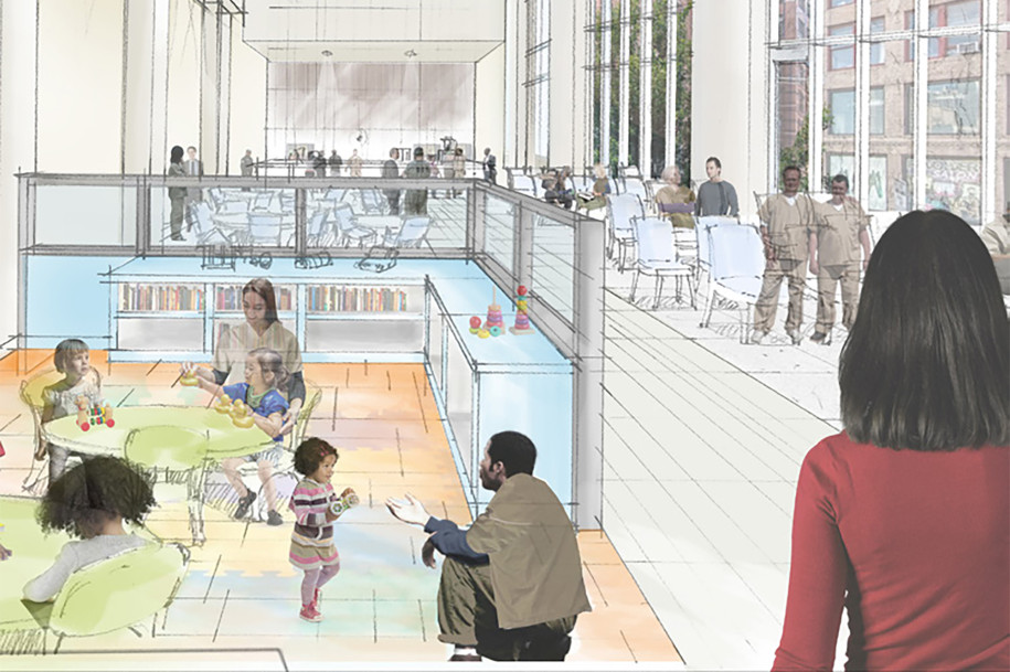 The proposed jail in Kew Gardens would feature space for detainees to engage with families. Rendering via City Hall