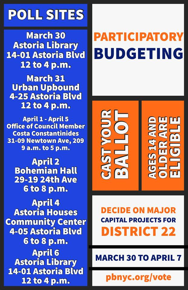 District 22 residents can vote in the Participatory Budgeting Ballot online or at these poll sites. Image courtesy of Councilmember Costa Constantinides.