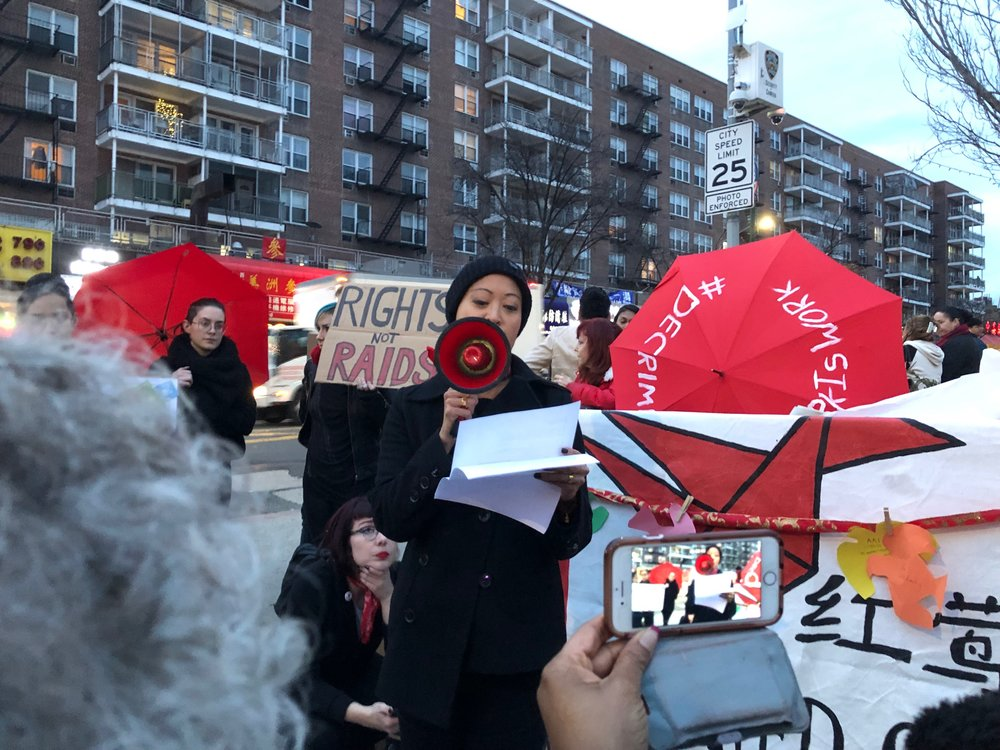 Sex workers rallied in support of massage parlor workers amid proposed crackdowns in Flushing.  Eagle  photos by Emma Whitford.