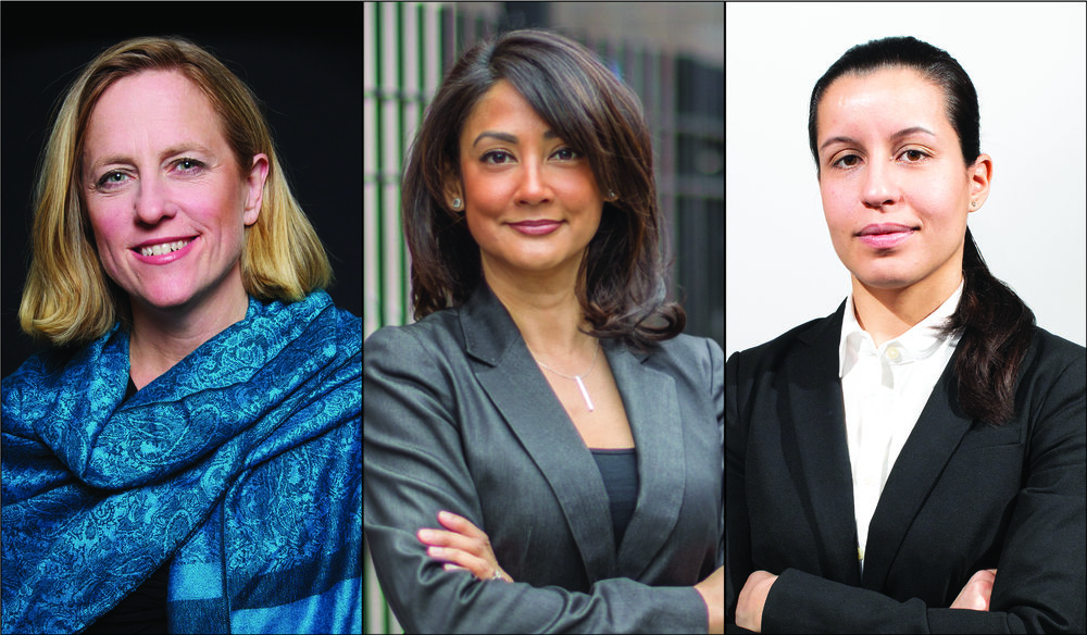 Borough President Melinda Katz (left), former Queens prosecutor Mina Malik (center) and public defender Tiffany Cabán were the first three candidates to file their petitions to appear on the June 25 primary ballots. Photos courtesy of the Katz, Malik and Cabán campaigns.