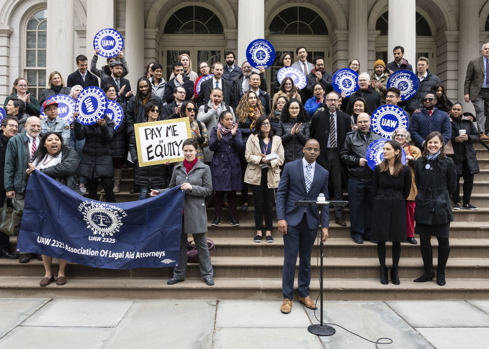 Association of Legal Aid Attorneys President Jared Trujillo participates in a rally for pay parity at City Hall. Photos courtesy of Legal Aid.