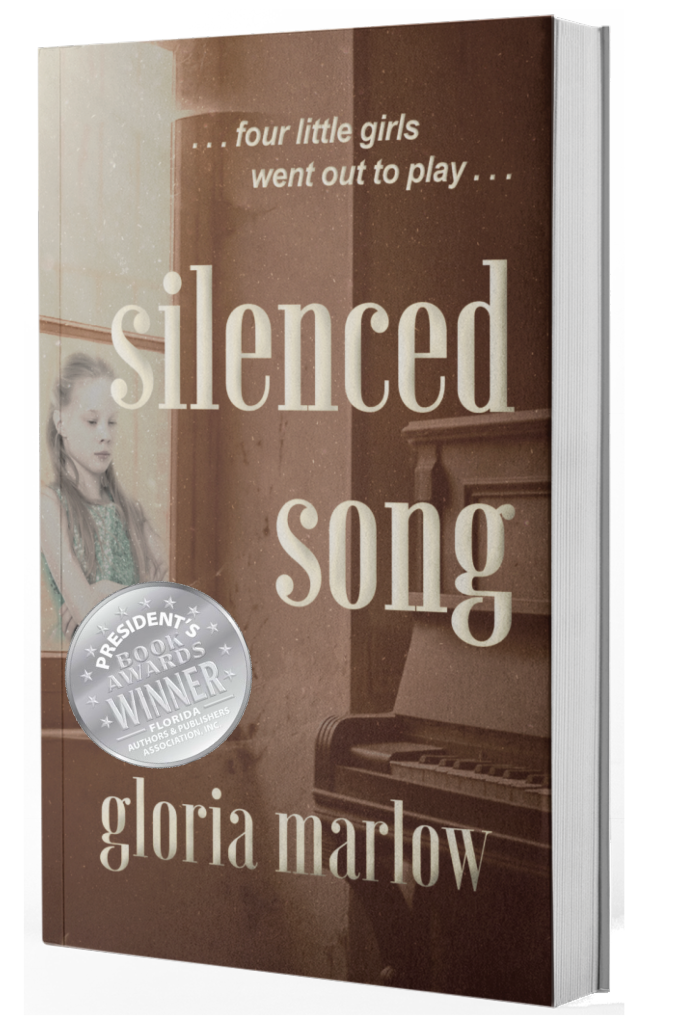 Silenced SongGloria Marlow - Thirty years ago, the playful songs of three small girls was silenced forever. Now someone watches and counts the days until the music dies once more.2018 Florida Authors & Publishers Association President's Award Silver MedalistThe story was very suspenseful and the author maintained the mystery through every page until the very end. The discovery is worth the wait and the ending is captured perfectly. ~ Coffee Time Romance ReviewsClick Here for Kindle.Click Here for Other Digital Formats.Click Here or On Cover for Print.
