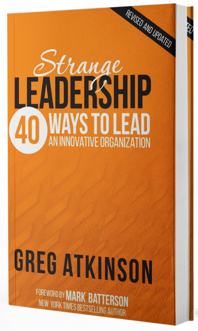 Strange LeadershipGreg Atkinson - Truly innovative leaders are often considered strange, but Greg gives 40 different ways the Bible teaches us to be strange leaders. Don't settle for everyday leadership; immerse yourself in Strange Leadership!Foreword by Mark Batterson, author of How To Hear The Voice of God.Because leadership in Jesus' upside-down Kingdom is so different and distinct from the world, it is