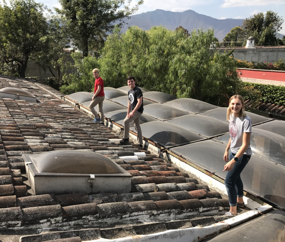 Members Sabrina, Blake, and Kevin surveying for rainwater collection in Antigua, Guatemala (February 2018)