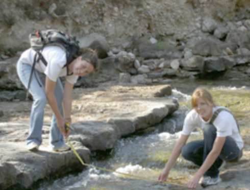USC EWB members taking water samples during their first assessment trip to Honduras in 2008.