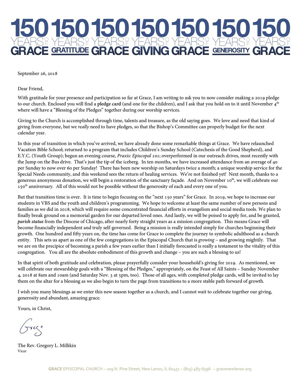 please consider a yearly pledge a one time gift or a donation to grace
