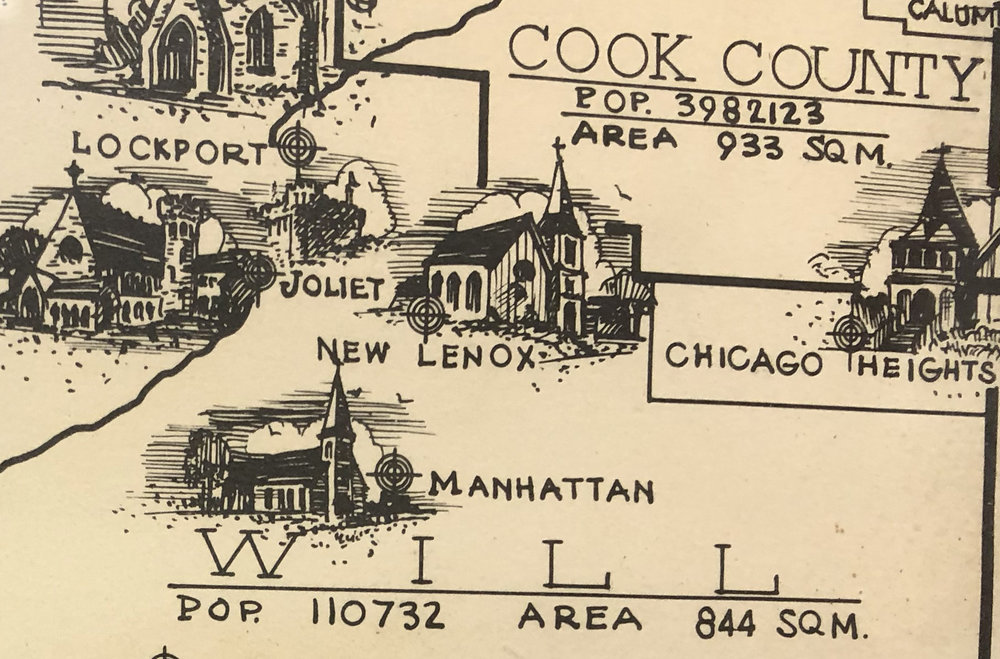 Late 19th Century Illustrated Map of the Diocese of Chicago, zoomed in on the area surrounding and including New Lenox.  St. Paul's Manhattan is visible to the south of Grace Church, although the church was closed in the 1960's.