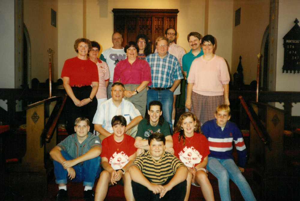 The Youth Group (E.Y.C.) of Grace New Lenox in the mid 1990s, pictured in the front with adult supervisors in the back.