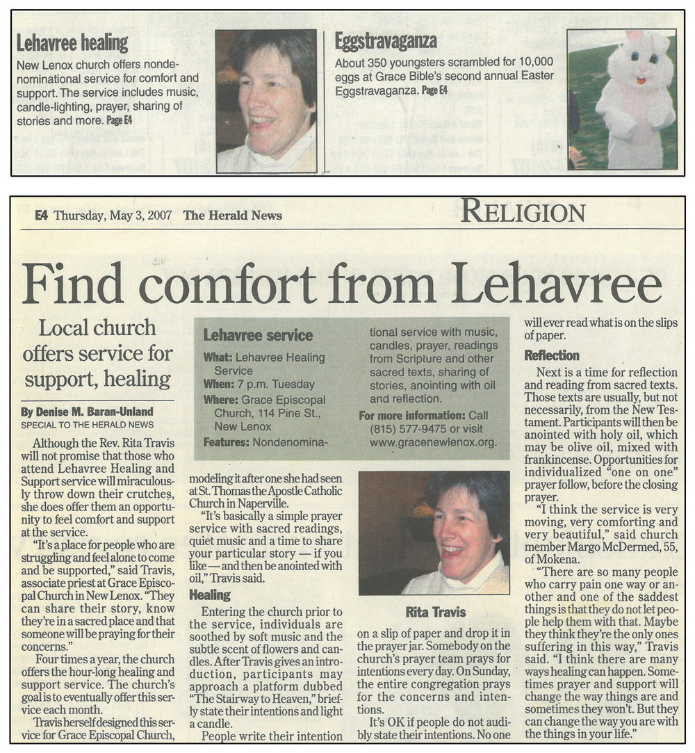 Joliet Herald News article, May 9, 2007, about the Lehavree Healing and Support Service, featuring quotes from the Rev. Rita Travis, associate priest at Grace New Lenox in the mid-2000s.