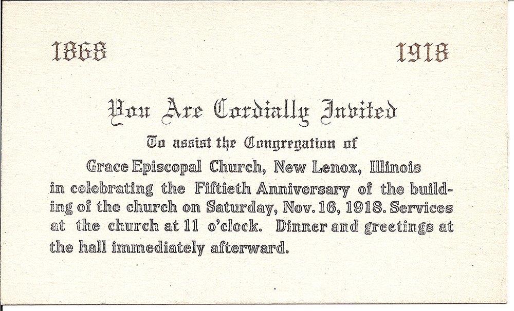 Invite for the 50th Anniversary Reception on Saturday, November 16, 1918.
