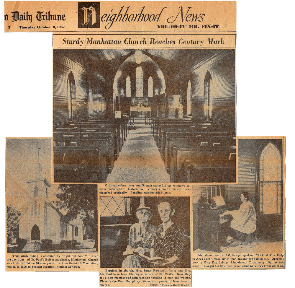 From the  Chicago Daily Tribune,  October 15, 1957:  St. Paul's Manhattan is featured in this article celebrating it's centennial year.