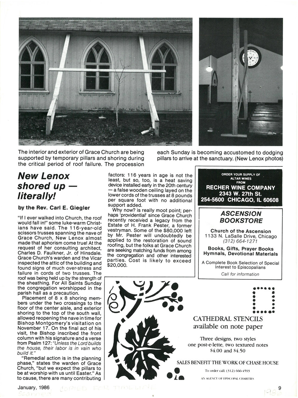 A page from an article in  The Advance , a magazine for the Episcopal Diocese of Chicago at the time, which details the work to keep the church standing up after major storm damage. January 1986.