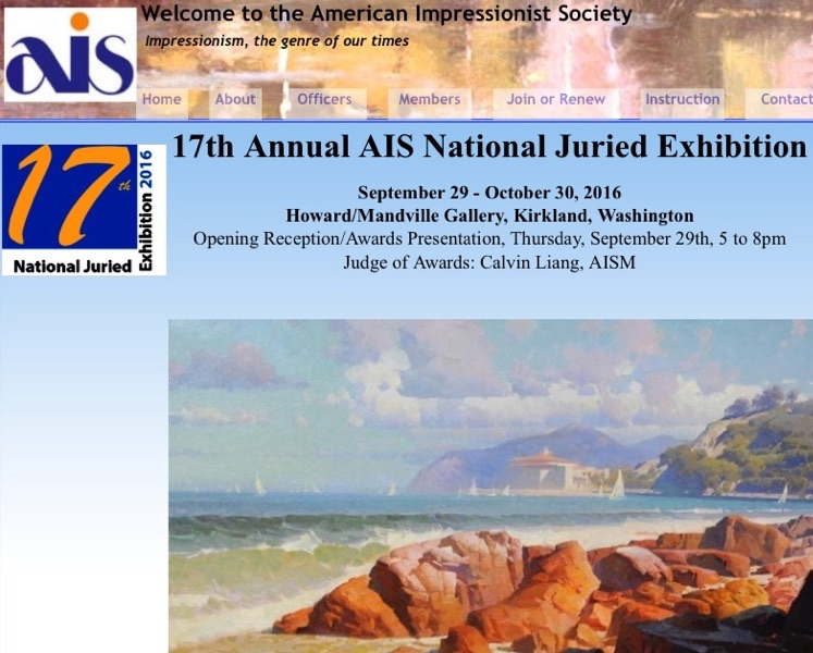 american impressionist society - 17th National Annual showSeattle, WAWork of Samuel Smith was selected for the prestigious national show in 2016.1350 entrants by professional artists were juried to limit the exhibition to approximately 130 works.