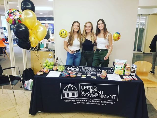 LEEDS MENTAL HEALTH WEEK:  Visit our fantastic team, who will be present throughout the week with snacks and information pamphlets regarding mental health as we prepare for this finals season!  Today: Puppies and Pizza 12-2  Tomorrow: DIY Essential Oils 11-2  Wednesday: Massages and Aromatherapy 12-2  Thursday: Goat Yoga 12:30-1:30 and Heart 2 Heart Speaker Series 6:30 in S127