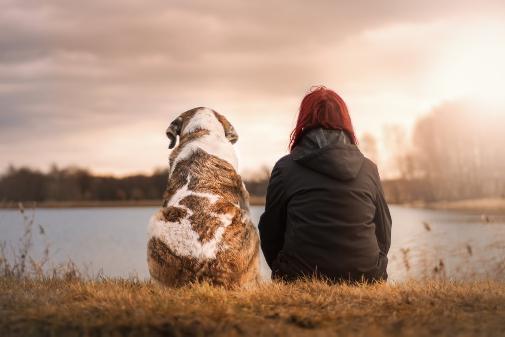Red Haired Lady and Dog Sunset.jpeg