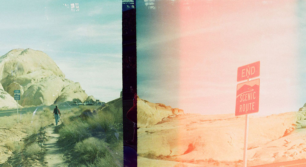 Double exposure with 10 years between shots.  Death Valley, California (2003) and Clemson, South Carolina (2013)  Unknown film.