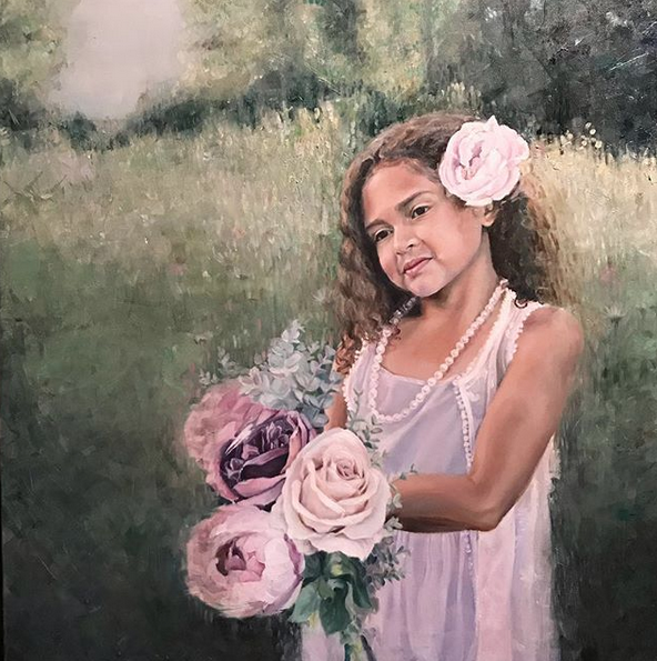 Lara with Flowers