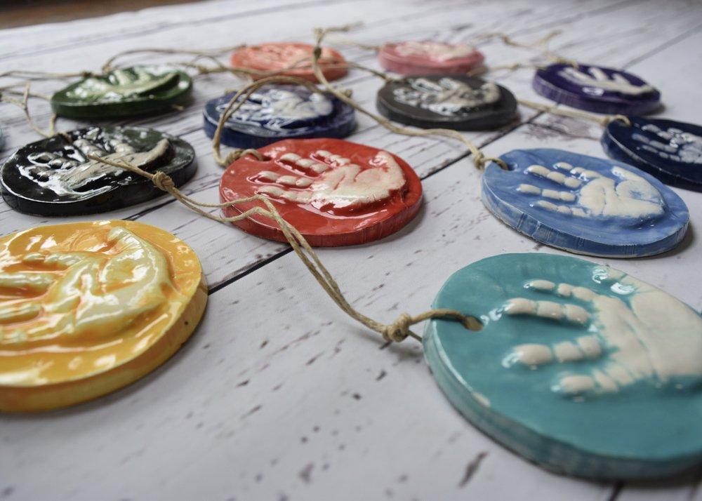 Circular ornaments for new borns.