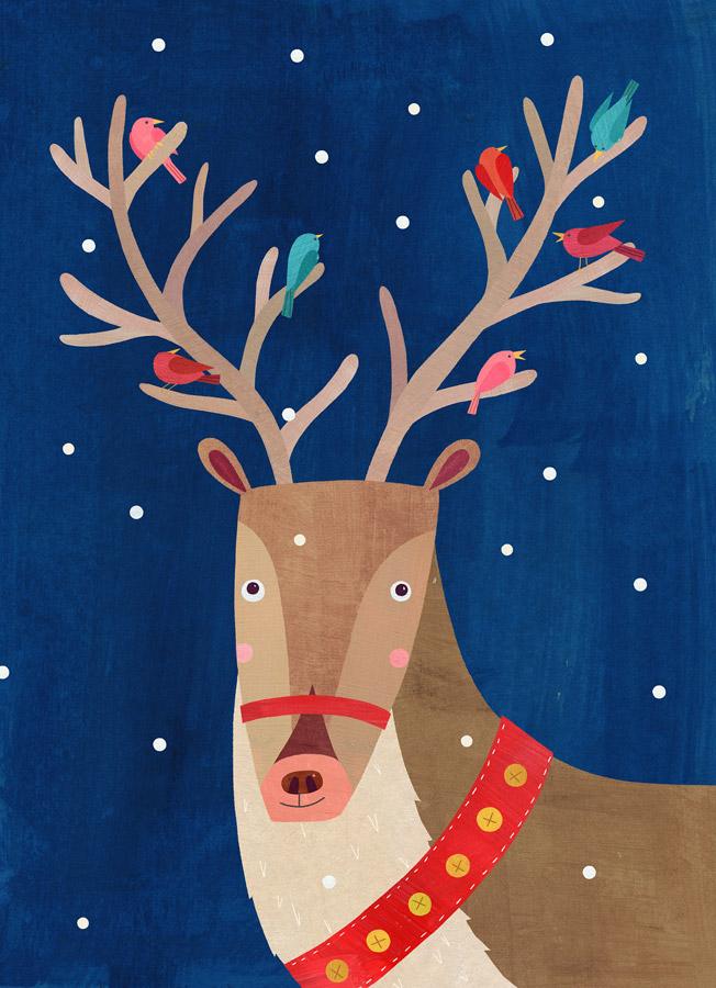 Christmas Reindeer with Birds