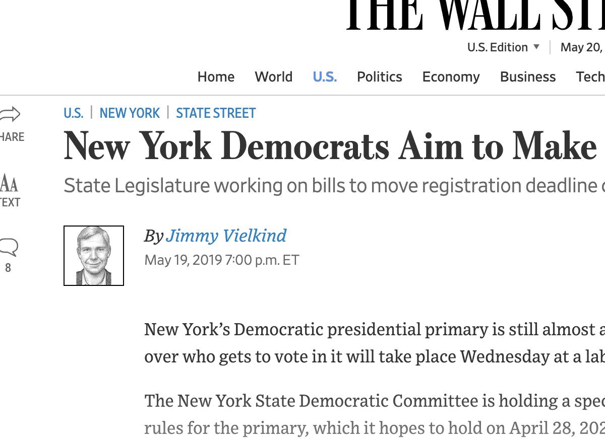 State Legislatures Take Aim At >> Wsj New York Democrats Aim To Make Presidential Primary More