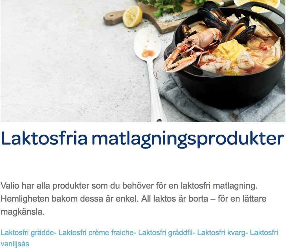 Valio.se Laktosfria matlagningsprodukter