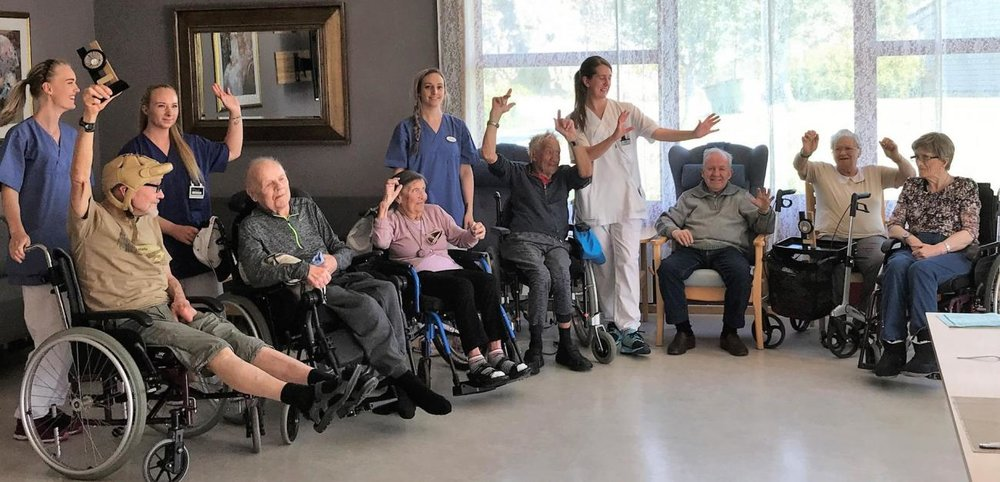 VINNERLAGET: Langtidsavdelingen på Meland sjukeheim ble vinner av lagkonkurransen. (FOTO: Motitech)