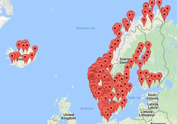Snart 800 filmer i Motitechs filmbibliotek. I tillegg til landene du ser på bildet, har vi også filmer fra Canada.
