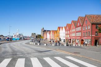 Filmopptak på Bryggen i Bergen