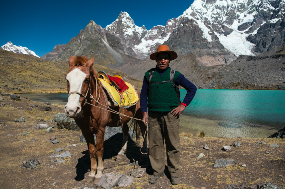 A horse trainer and travel guide deep in the Andean Mountains in Peru.
