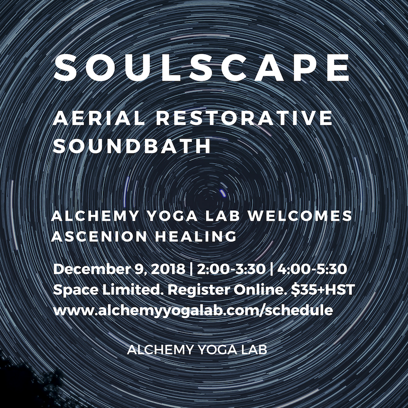 Soundbath with Ascension Healing - December 9, 2018 | 4:45-6:00PM FULL | 6:15-7:30PM FULLSoulscape Aerial Restorative Soundbath allows the body to soften and release through subtle movement, deep relaxation, and stillness. Nestled amongst bolsters and blankets you will be fully supported by the aerial hammock. The beautiful sound waves of healing frequencies will create a catalyst for your personal transformation. Be prepared to be transported to a state of blissful relaxation.
