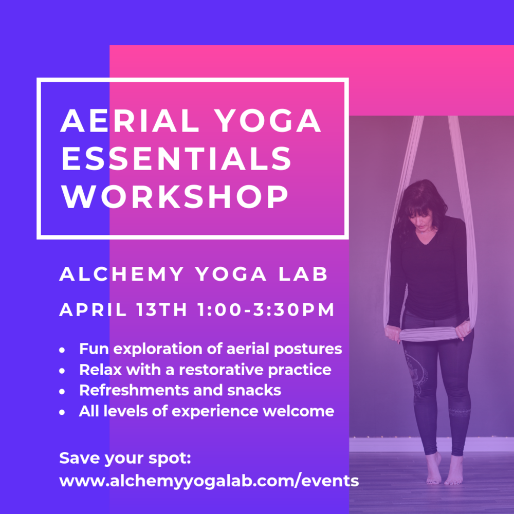 How often do you find an exercise that is therapeutically healing and fun? - This is a blissful balance of both: A Fun exploration oF aerial YOGA postures & a relaxing Restorative Practice. How does it get any better than this?!?Join JennIe & Bridget for A fun daY OF YOGA IN THE AIR Register Early $35+tax, space limited