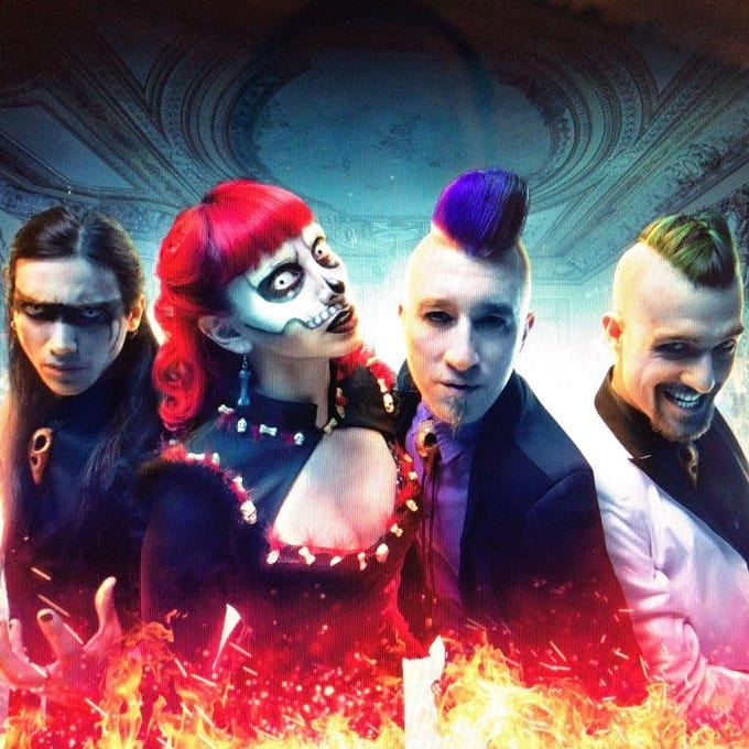 Voodoo Zombie is: Vastago Delirivm (Drums), Katona Kat (Vocals), Sexbasstian (Bass), and Santi Christ (Guitar)  Photo courtesy  Voodoo Zombie Facebook