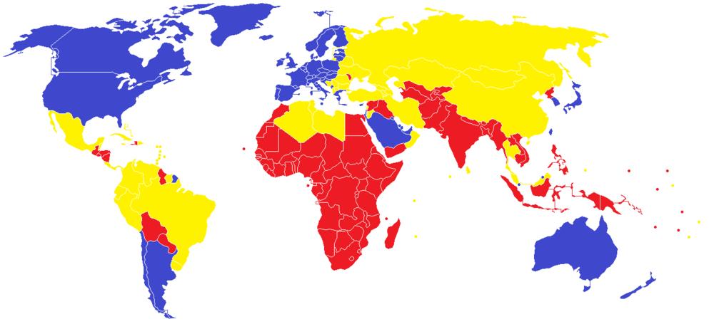 Blue - First World, Yellow - Second World, Red - Third World