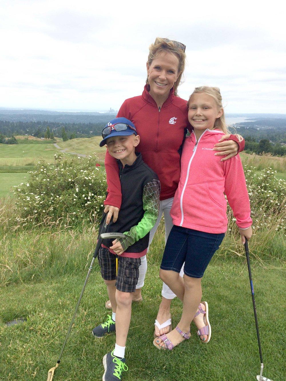 Golfing with my niece and nephew