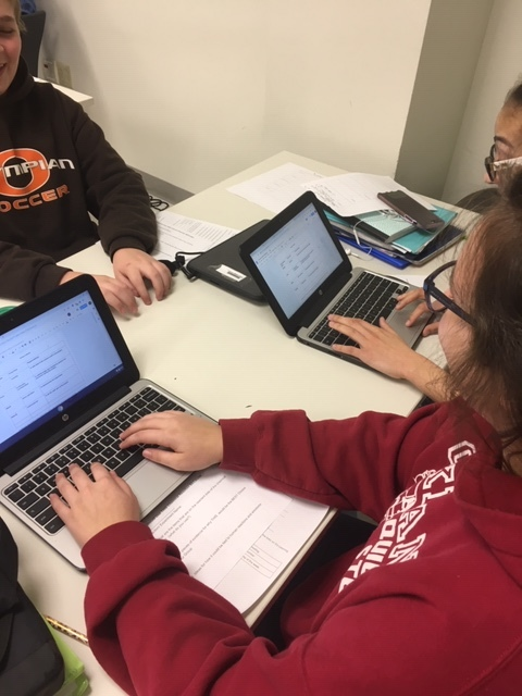 Students working on their group contracts.
