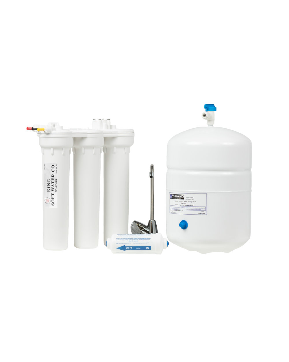 KING Microline Reverse Osmosis System - FEATURES:· 4 stages of high performance filtration· High Capacity Tank· Automatic Shut-Off· High Performance T.F.C. Membrane· Compact System· Patented channel design· Environmentally sound: no chemicals· Cost Effective: No more purchasing bottled water· Variety of designer faucets available· Crisp, delicious and refreshing drinking water for the whole family!