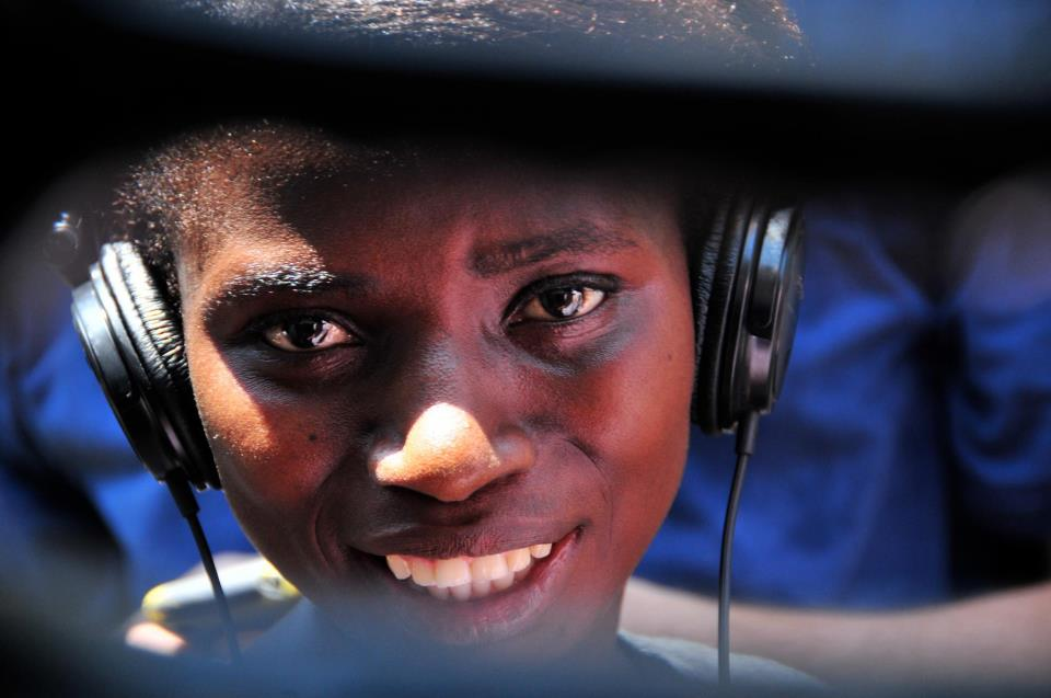 A young Sierra Leonean uses resources in the WeOwnTV media center in Freetown.