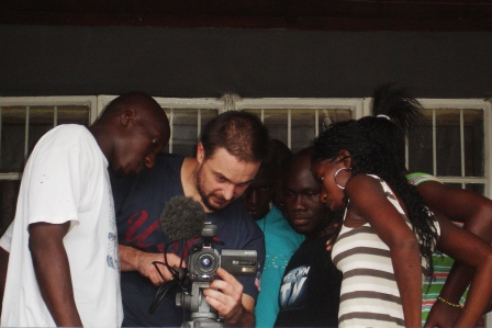 Banker demos camera operations during WeOwnTV Mentor Training.