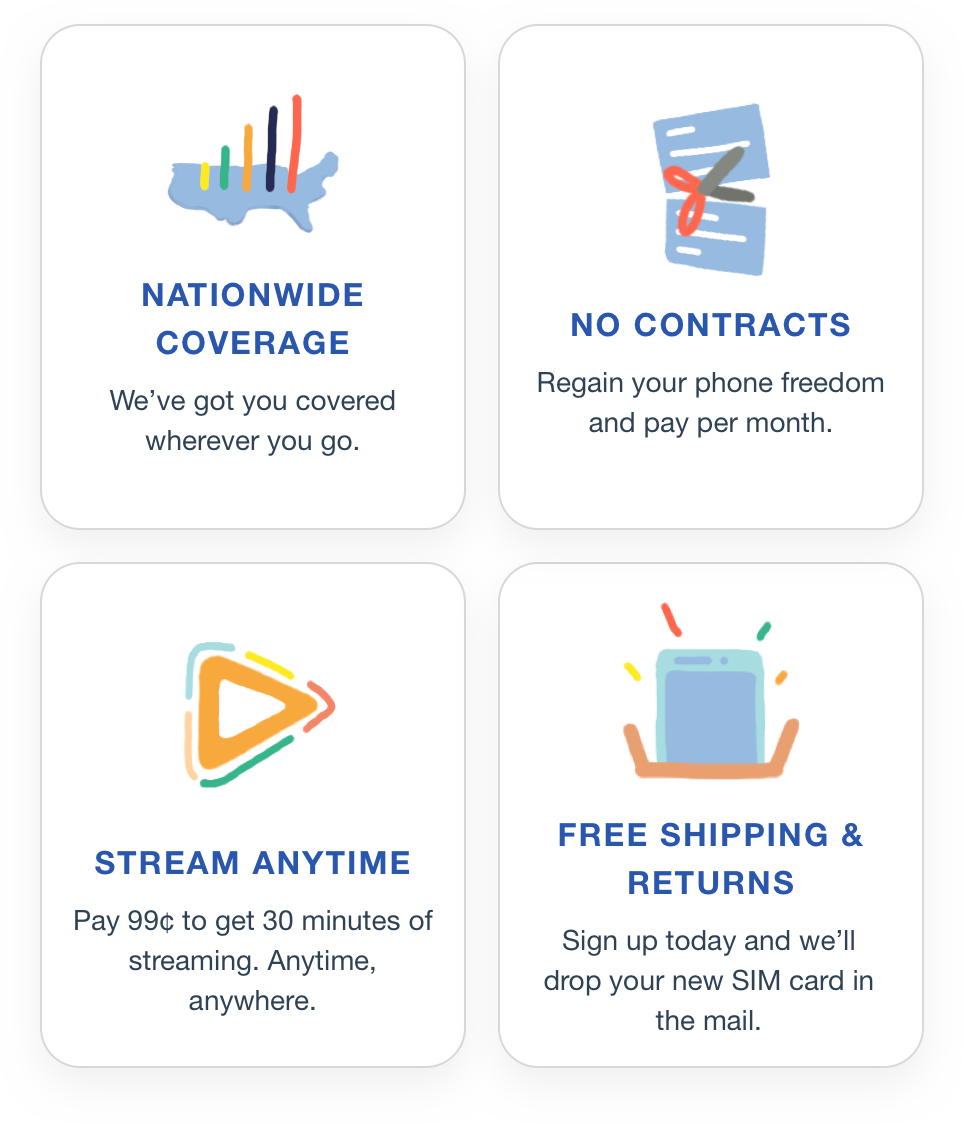 Nationwide Coverage, No Contracts, Stream Anytime, Free Shipping
