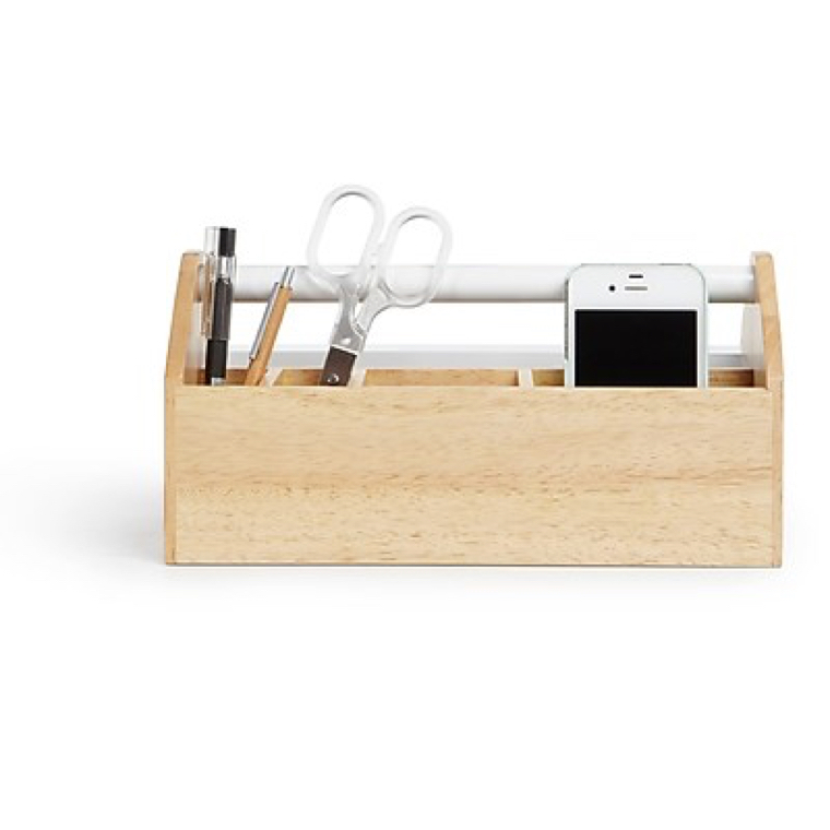 umbra toto storage product image; image of a beautifully designed light wood tool box holding various tools
