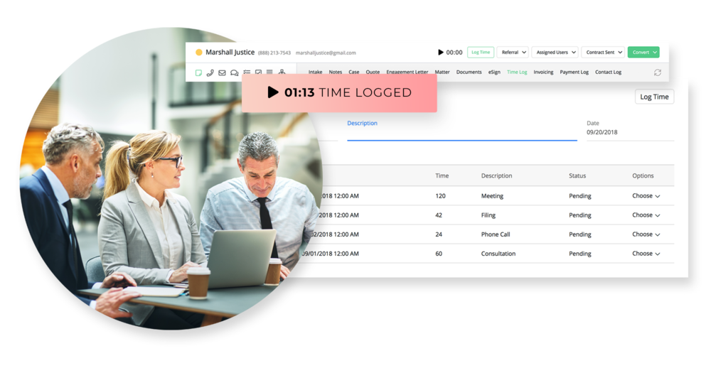 Track your billable time. - Record time spent on each client, share your time logs through invoices, and get paid via credit card or bill against a trust.