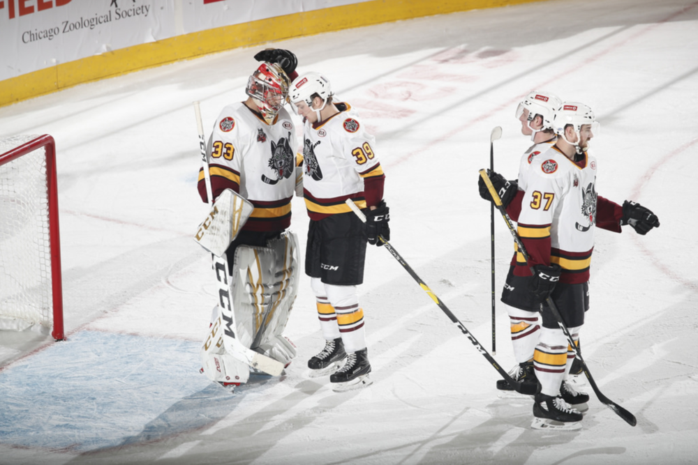 Reid Duke (#39) and Max Legace (#33) congratulate eachother after 5-1 victory. Photo credit: Chicago Wolves
