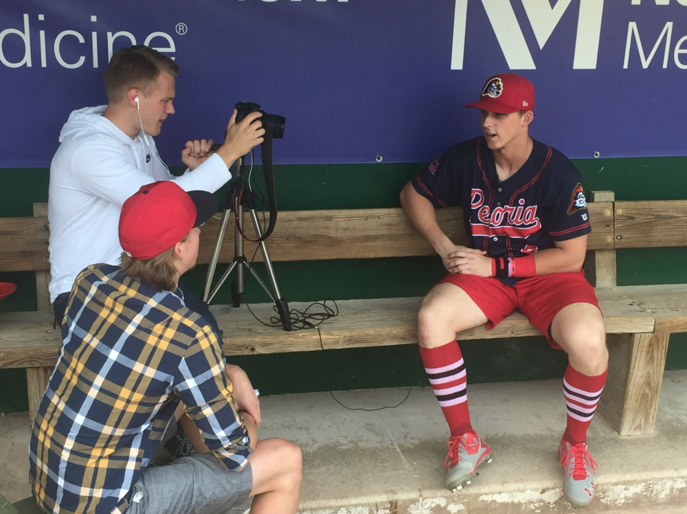 Interviewing Cardinals prospect Nolan Gorman in Kane County, Illinois.