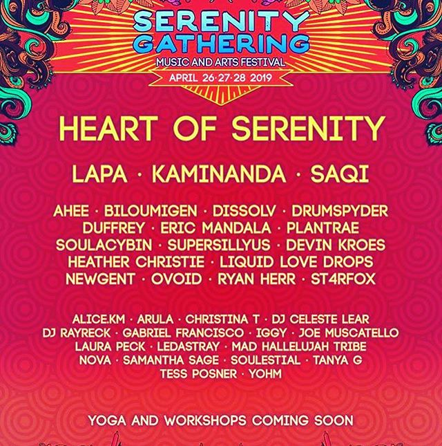 """I'm excited to announce the line up for """"Heart of Serenity"""", the healing area that Maggie and I have been busy curating and organizing the past few months. I will be performing Saturday/Sunday after Kaminanda @ 3am with Samantha Sage adding vocals. The yoga, sound healing, & workshop schedule will be released soon! Hope to see you there! ❤️ ❤️ #serenitygathering2019 #serenitygathering #heartofserenity #housemusic #ladjs #healing #yoga #nova #liveelectronic #cafestivals #camping #musicfestival #art"""