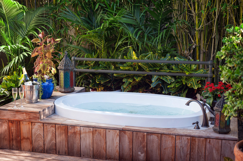 Outdoor spa at La Jolla Estancia hotel, spa photographer San Diego, southern ca hotel photography