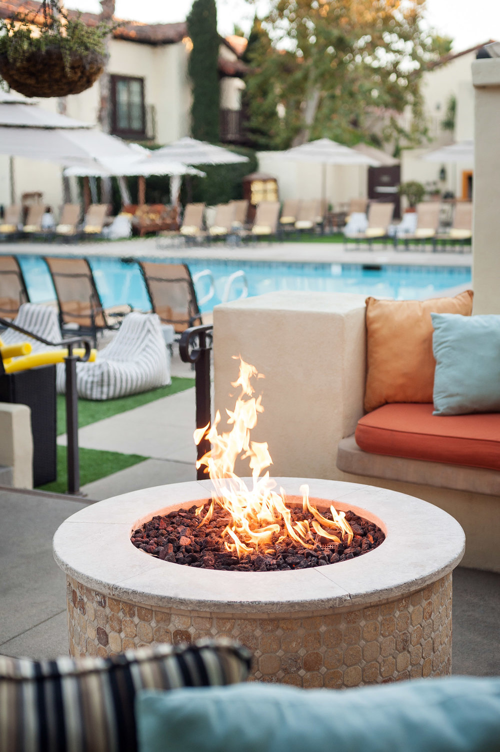 Fire pit at Estancia Hotel, resort photographer southern California, southern california hotel photographer