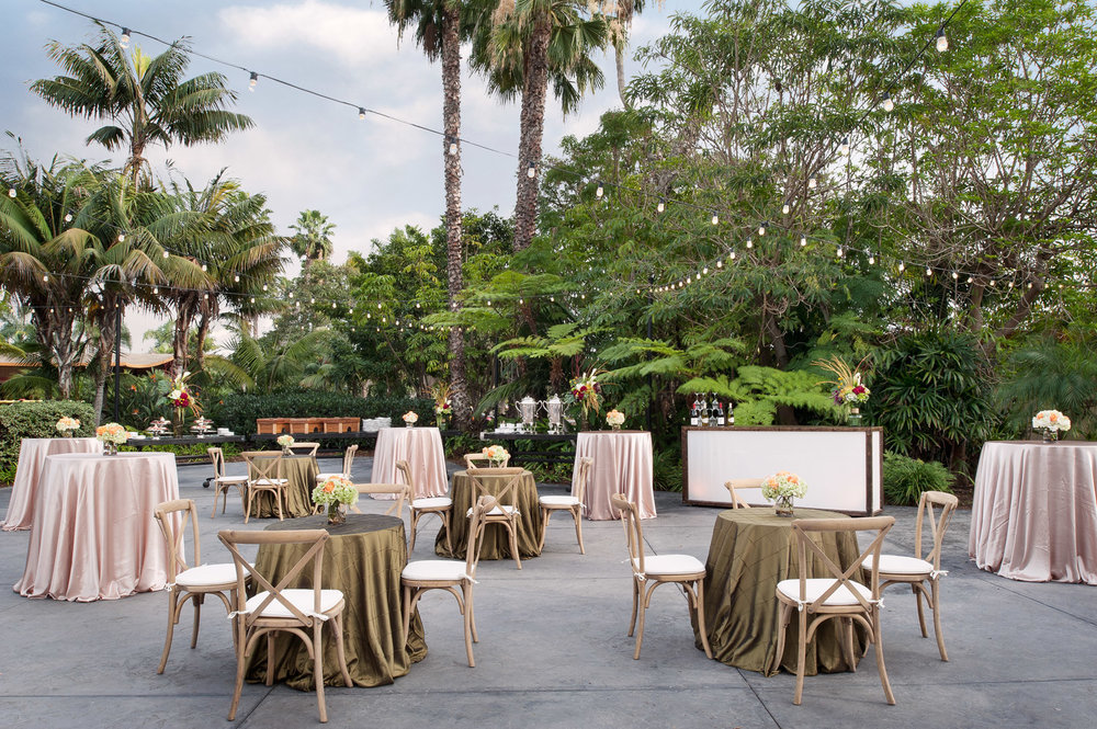 Wedding reception set up at Paradise Point Resort in Mission Bay, California, hotel photography, commercial photography