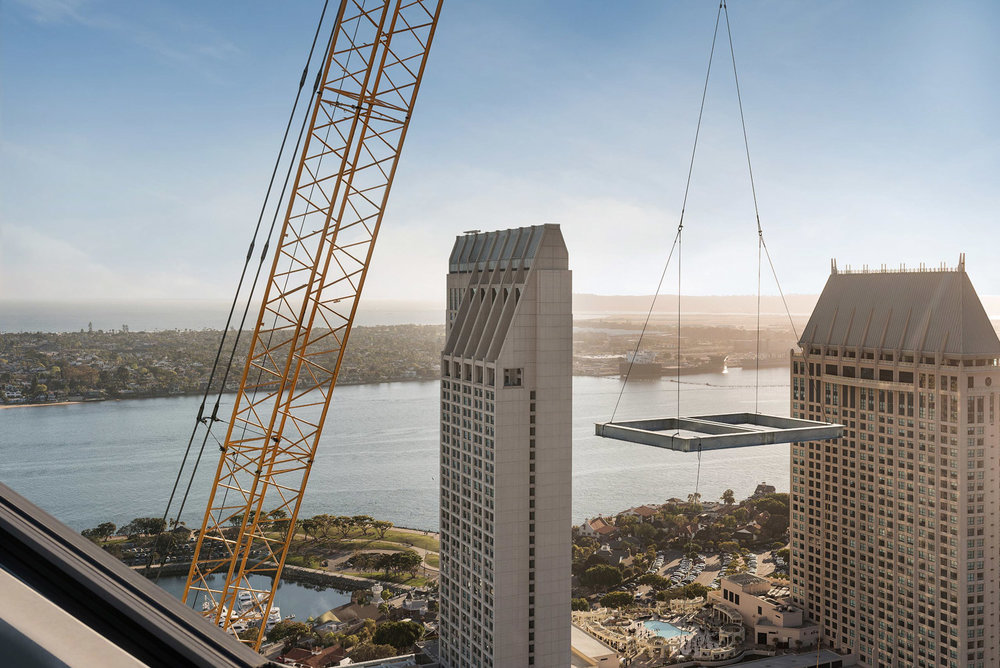 Large crane working over San Diego Bay, architecture photographer, San Diego architecture photographer, construction photography, California photographer, architecture photography