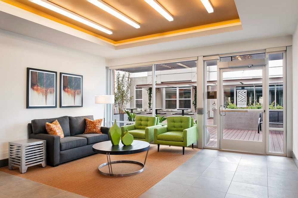 Lobby of Paseo Comm22 building in san diego, affordable housing project southern california, Hazard Construction, interior photography
