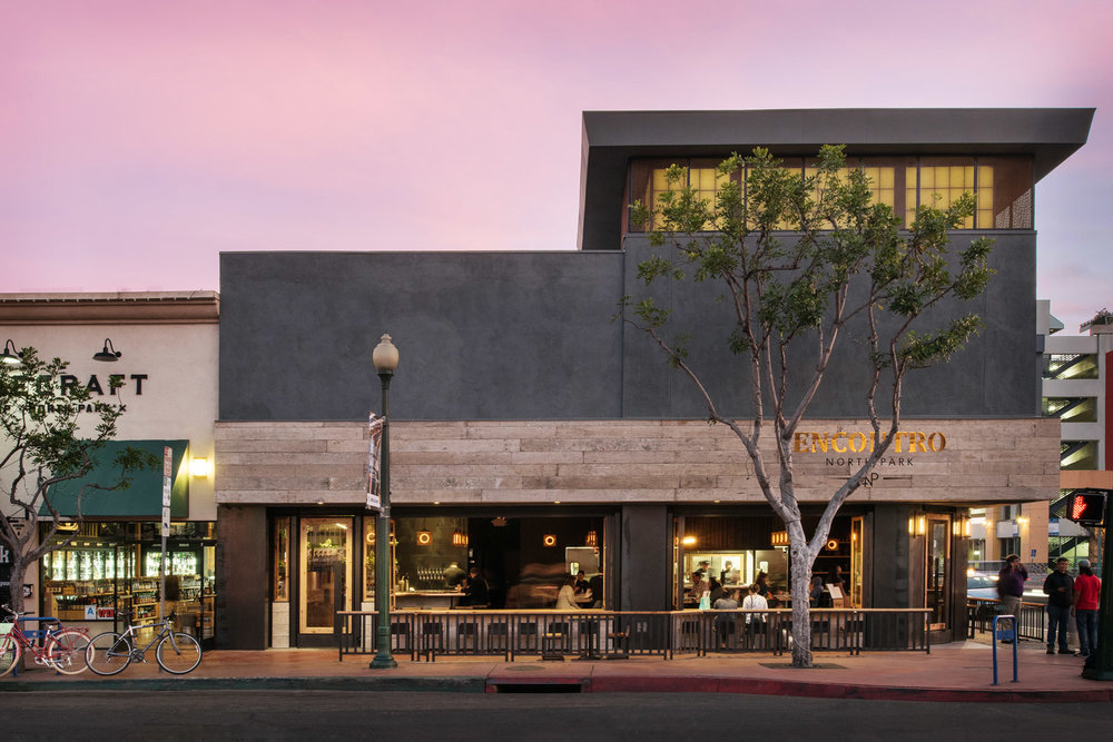 Encontro restaurant exterior, southern California restaurant photographer, Basile Studios design